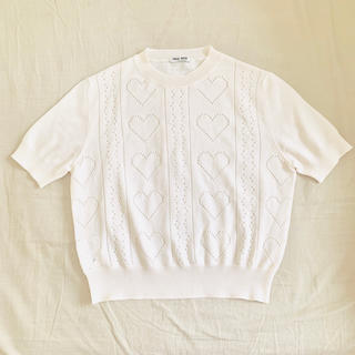 ミュウミュウ(miumiu)のmiumiu ニット オフホワイト 36(ニット/セーター)