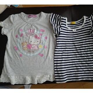 しまむら - キティ半袖カットソーとオーガニックボーダーシャツ100