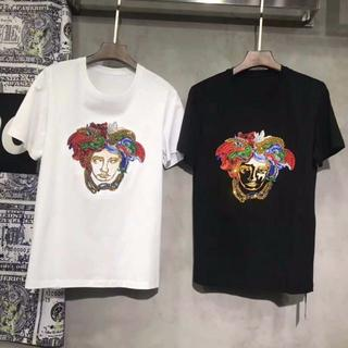 VERSACE - VERSACE メデューサ 刺繍 半袖 クルーネック スリムTシャツ