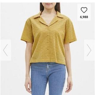 ジーユー(GU)の新品タグつきguレースオープンカラーシャツsサイズ(シャツ/ブラウス(半袖/袖なし))