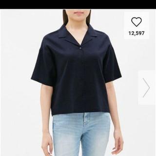 ジーユー(GU)の新品タグつきguリネンブレンドオープンカラーシャツmサイズ(シャツ/ブラウス(半袖/袖なし))