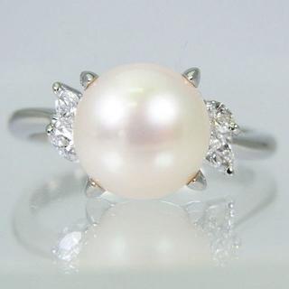 Pt900 天然アコヤ真珠(パール)ダイヤモンド リング 14号[f455-4](リング(指輪))