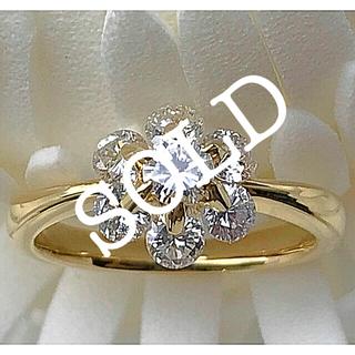 超美品✨合計1.00ctフラワーモチーフダイヤモンドリング (リング(指輪))