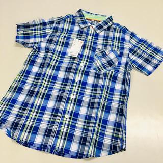 ユニクロ(UNIQLO)のマドラスチェックシャツ◆青◆半袖◆150◆UNIQLO◆新品タグ付き◆(ブラウス)