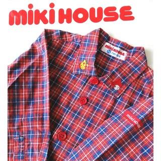 mikihouse - ミキハウス◆レトロ!クマ&キリン刺繍が可愛い!チェックシャツ◆90センチ