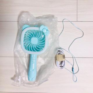 ハローキティ(ハローキティ)の【新品未使用】ライト付ハンディ扇風機꙳★*゚ブルー(扇風機)
