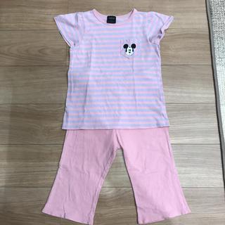ジーユー(GU)のGU ボーダー柄 ルームウェア パジャマ 半袖 ディズニー ピンク系(パジャマ)