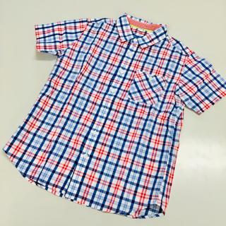 ユニクロ(UNIQLO)の赤×青チェックシャツ◆半袖◆UNIQLO◆150◆未着用/新品(ブラウス)