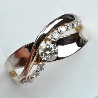 K18PG ピンクゴールド ダイヤモンドリング 11号 指輪