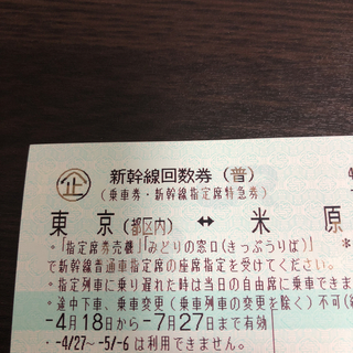 東京 米原 新幹線 指定席 回数券 1枚