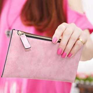財布 ピンク スリム コンパクト カード入れ PUレザー シンプル レディース(財布)