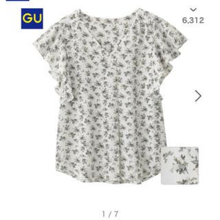 ジーユー(GU)のジーユー 花柄ブラウス フレンチスリーブ(シャツ/ブラウス(半袖/袖なし))