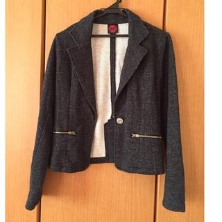 シマムラ(しまむら)の濃いグレーのラメ入りテーラードジャケット(テーラードジャケット)