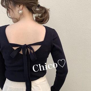who's who Chico - 新品♡ BackUネックリボンリブニット ヘザー ナイスクラップ スナイデル