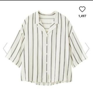 ジーユー(GU)の新品タグつきguストライプオープンカラーシャツ(7分袖)Lサイズ(シャツ/ブラウス(長袖/七分))