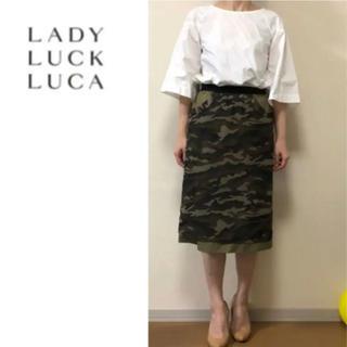 ルカ(LUCA)の美品☆LUCA☆カモフラージュ スカート☆迷彩☆(ひざ丈スカート)