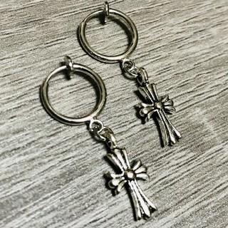 ノンホール クロスピアス 十字架 フープ シルバー 銀 メンズ レディース 2個