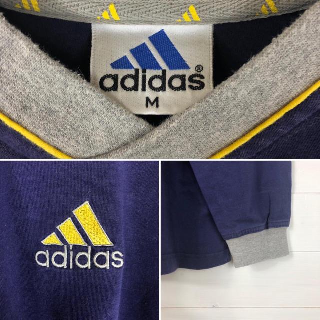 adidas(アディダス)の【超希少】アディダス◆刺繍ロゴ ビッグシルエット イエロー ロンT 90s メンズのトップス(Tシャツ/カットソー(七分/長袖))の商品写真
