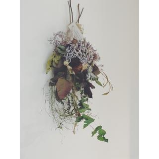 紫陽花とローズ、スモークツリーのシャビースワッグ   2-amethyst(ドライフラワー)