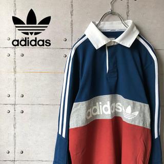 アディダス(adidas)の【激レア】adidas アディダス ラガーシャツ ポロシャツ デカロゴ (ポロシャツ)