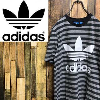 アディダス(adidas)の【激レア】アディダスオリジナルス☆ビッグトレフォイルプリントボーダーTシャツ(Tシャツ/カットソー(半袖/袖なし))