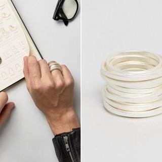 Asos スパイラル リング 指輪 パールホワイト シルバー(リング(指輪))