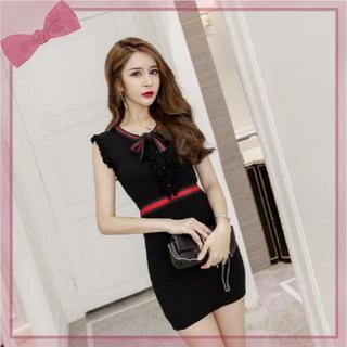 23307c3bf9c73 リエンダ(rienda)のタイトドレス フリル ミニ ワンピース 韓国 黒 L . オルチャン タイト