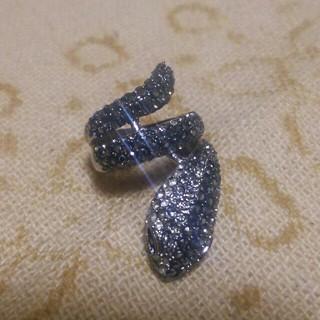 蛇リング CZブラックダイヤ&CZダイヤリング(リング(指輪))