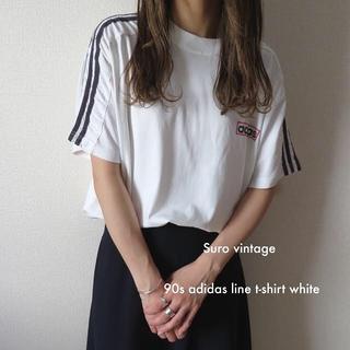 adidas - 90s adidas トレフォイル ライン tシャツ 白 古着 レディース