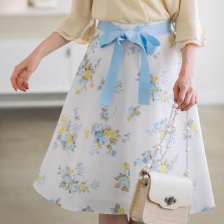 tocco - グログランリボン付きフラワープリントフレアスカート