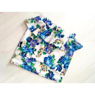 リズリサ(LIZ LISA)のリズリサ ペプラム タイト スカート 青 ブルー 花(ミニスカート)