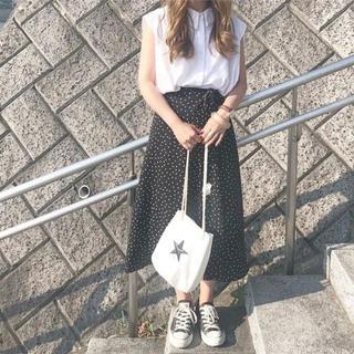 GU - 新品★ジーユー ドット柄ミモレ丈 ロングスカート ラップスカート マキシ GU
