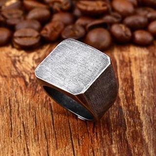 ヴィンテージデザイン カレッジリング 印台リング シルバー 銀色 14号(リング(指輪))