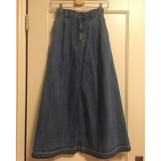 ジーユー(GU)のGU デニムフレアマキシスカート(ロングスカート)