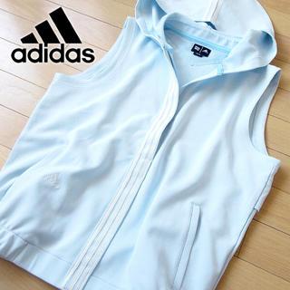 アディダス(adidas)の未使用 M アディダス ゴルフ メンズ パーカーベスト 水色(ウエア)