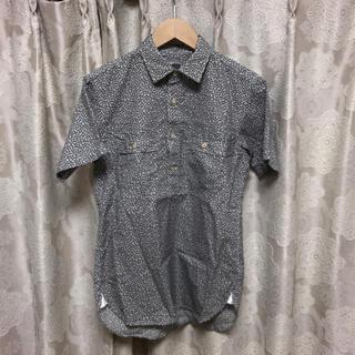 デラックス(DELUXE)のDeluxe デラックス 総柄 半袖 プルオーバーシャツ S ホワイト ネイビー(シャツ)