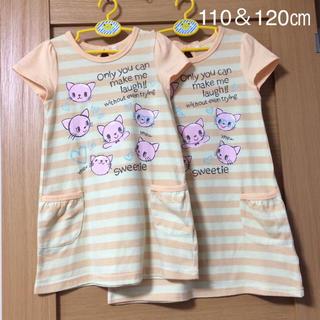 シマムラ(しまむら)の<264再出品>双子猫ワンピース110&120サイズ(ワンピース)