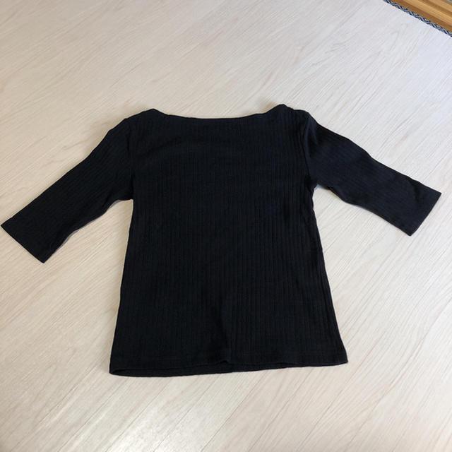 GU(ジーユー)のGU ボートネック 五分袖 (black) レディースのトップス(Tシャツ(長袖/七分))の商品写真