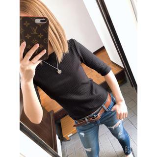ジーユー(GU)のGU ボートネック 五分袖 (black)(Tシャツ(長袖/七分))