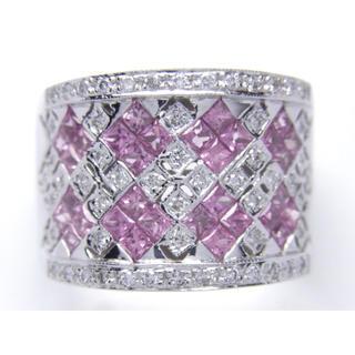 K14 ピンク サファイア ダイヤモンド リング(リング(指輪))