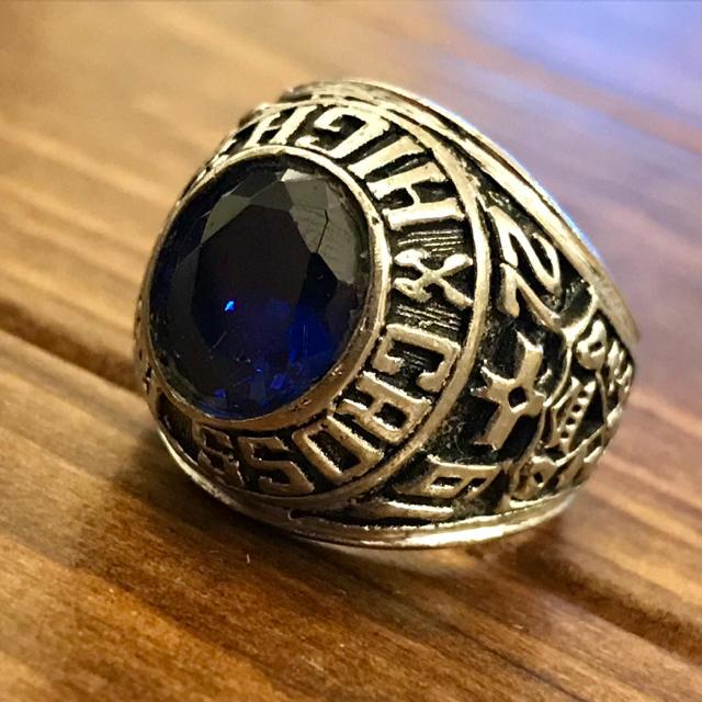 【希少】USA ビンテージ ベトナム戦争期 ミリタリー 紋章 カレッジ リング メンズのアクセサリー(リング(指輪))の商品写真