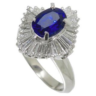 サファイア1.60ct【ダイヤ0.95ct】指輪/リングPm900/プラチナ(リング(指輪))