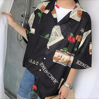 新品 薔薇柄 ローズ 英字 プリント カラーシャツ 黒 半袖 羽織り 男女兼用
