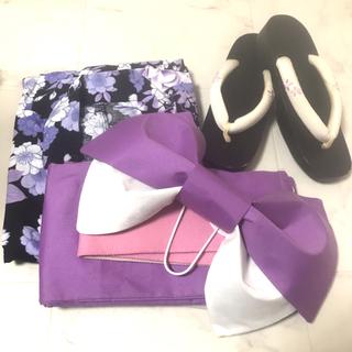 美品 浴衣 紫 青 紺 リボン 帯 セット(浴衣)