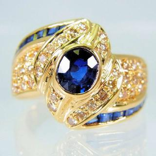 K18 サファイア ダイヤモンド リング 14号[f454-55](リング(指輪))