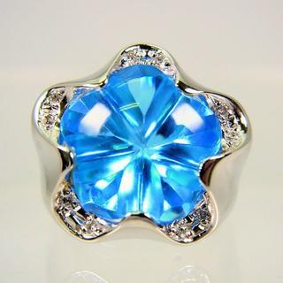 K18WG ブルートパーズ ダイヤモンド フラワー リング 12号[f454-5(リング(指輪))