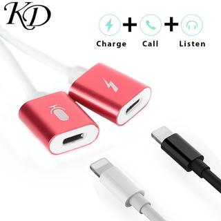 アイフォーン(iPhone)のiPhone 二股充電ケーブル 2in1 【シルバー】音楽を聴きながら充電(ストラップ/イヤホンジャック)