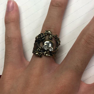 ステンレス製 スカル ドクロ 骸骨 指輪 リング 9号 10号(リング(指輪))