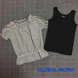 グローバルワーク(GLOBAL WORK)のグローバルワーク オフショルブラウス テレコタンクトップセット(Tシャツ/カットソー)