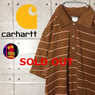 carhartt - カーハート◆ストライプ 茶系 ブラウン ビッグシルエット 半袖ポロシャツ 90s